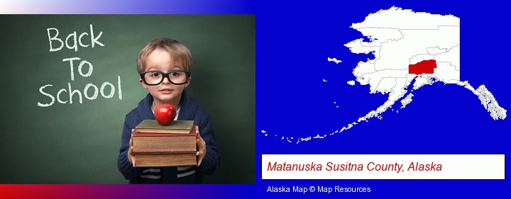 the back-to-school concept; Matanuska Susitna County, Alaska highlighted in red on a map