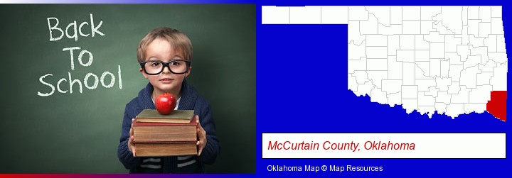 the back-to-school concept; McCurtain County, Oklahoma highlighted in red on a map