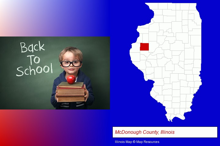 the back-to-school concept; McDonough County, Illinois highlighted in red on a map