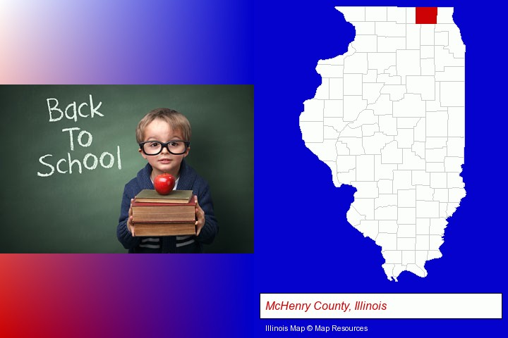the back-to-school concept; McHenry County, Illinois highlighted in red on a map