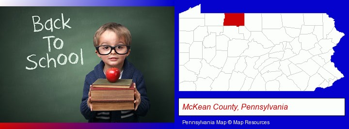 the back-to-school concept; McKean County, Pennsylvania highlighted in red on a map