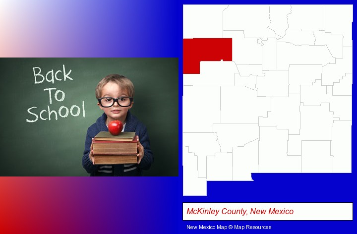 the back-to-school concept; McKinley County, New Mexico highlighted in red on a map