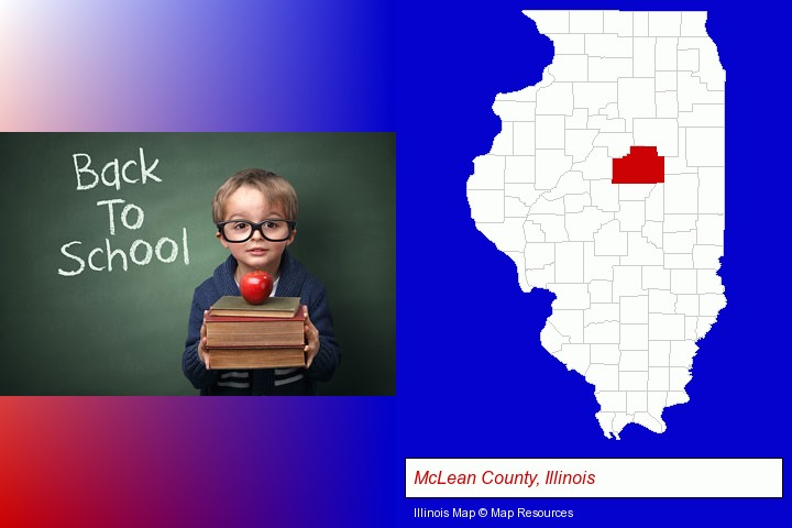 the back-to-school concept; McLean County, Illinois highlighted in red on a map
