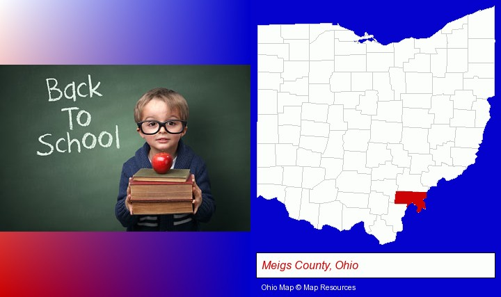 the back-to-school concept; Meigs County, Ohio highlighted in red on a map