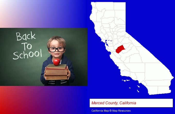 the back-to-school concept; Merced County, California highlighted in red on a map