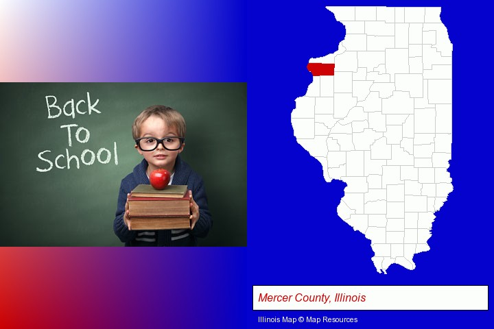 the back-to-school concept; Mercer County, Illinois highlighted in red on a map