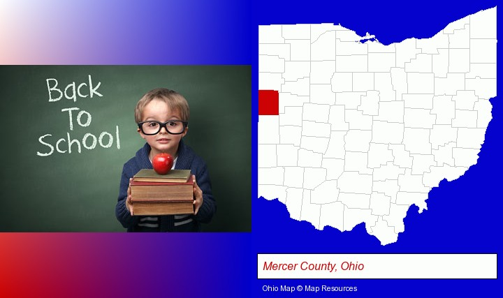 the back-to-school concept; Mercer County, Ohio highlighted in red on a map