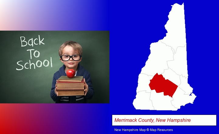 the back-to-school concept; Merrimack County, New Hampshire highlighted in red on a map