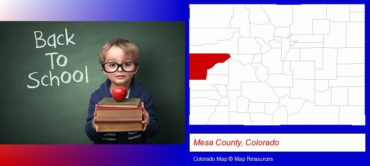 the back-to-school concept; Mesa County, Colorado highlighted in red on a map