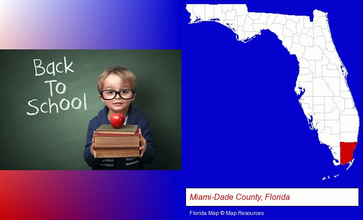 the back-to-school concept; Miami-Dade County, Florida highlighted in red on a map