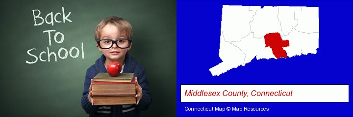 the back-to-school concept; Middlesex County, Connecticut highlighted in red on a map