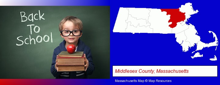 the back-to-school concept; Middlesex County, Massachusetts highlighted in red on a map