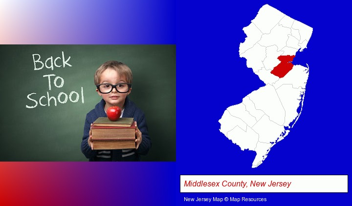 the back-to-school concept; Middlesex County, New Jersey highlighted in red on a map