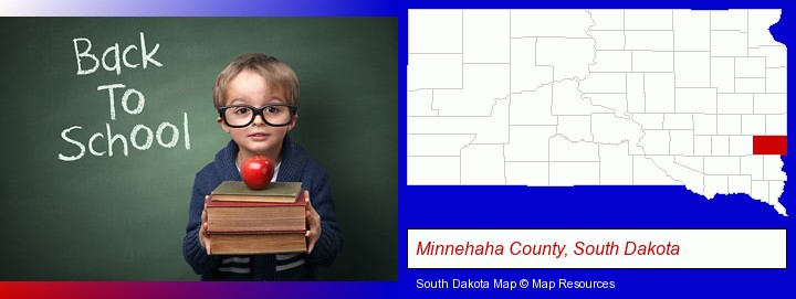 the back-to-school concept; Minnehaha County, South Dakota highlighted in red on a map