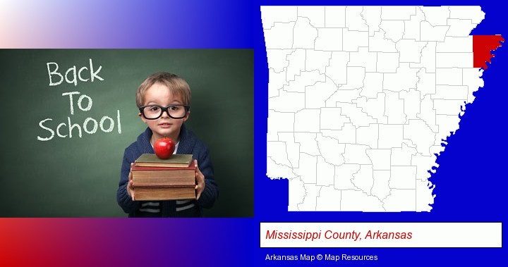 the back-to-school concept; Mississippi County, Arkansas highlighted in red on a map