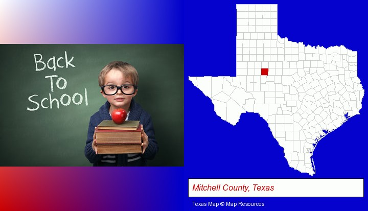 the back-to-school concept; Mitchell County, Texas highlighted in red on a map