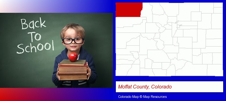 the back-to-school concept; Moffat County, Colorado highlighted in red on a map