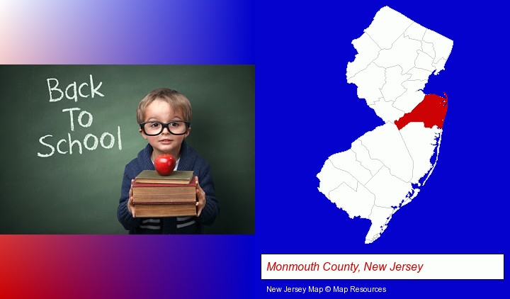 the back-to-school concept; Monmouth County, New Jersey highlighted in red on a map