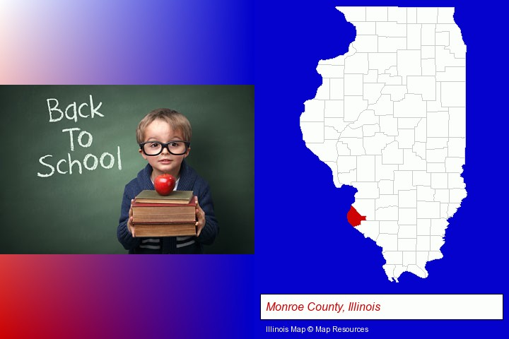 the back-to-school concept; Monroe County, Illinois highlighted in red on a map