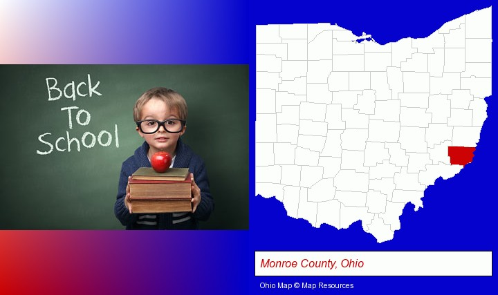 the back-to-school concept; Monroe County, Ohio highlighted in red on a map