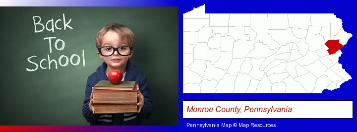 the back-to-school concept; Monroe County, Pennsylvania highlighted in red on a map