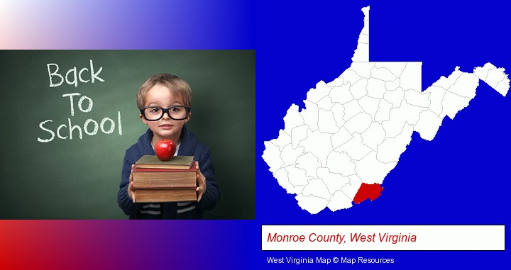 the back-to-school concept; Monroe County, West Virginia highlighted in red on a map