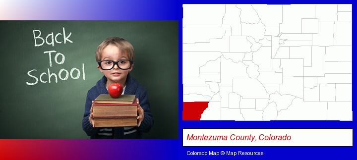 the back-to-school concept; Montezuma County, Colorado highlighted in red on a map