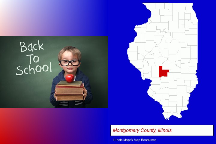 the back-to-school concept; Montgomery County, Illinois highlighted in red on a map