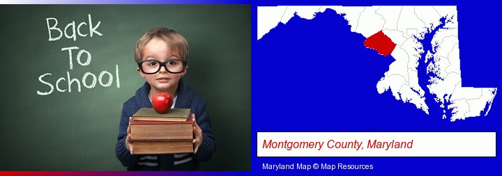 the back-to-school concept; Montgomery County, Maryland highlighted in red on a map