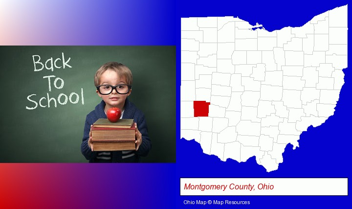 the back-to-school concept; Montgomery County, Ohio highlighted in red on a map