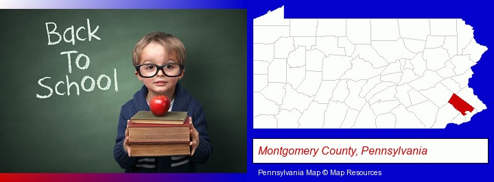 the back-to-school concept; Montgomery County, Pennsylvania highlighted in red on a map