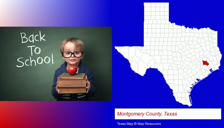 the back-to-school concept; Montgomery County, Texas highlighted in red on a map