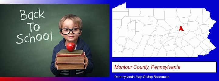 the back-to-school concept; Montour County, Pennsylvania highlighted in red on a map
