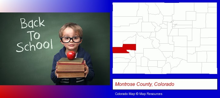the back-to-school concept; Montrose County, Colorado highlighted in red on a map