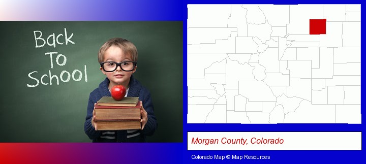 the back-to-school concept; Morgan County, Colorado highlighted in red on a map