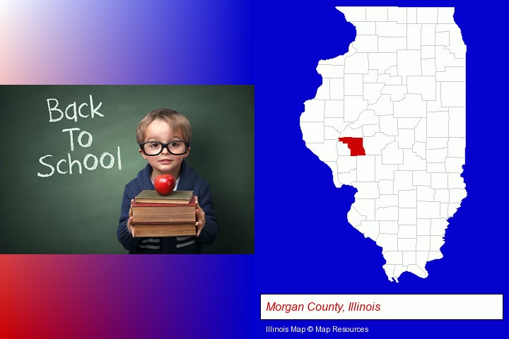the back-to-school concept; Morgan County, Illinois highlighted in red on a map
