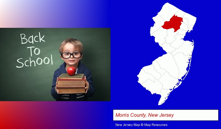 the back-to-school concept; Morris County, New Jersey highlighted in red on a map