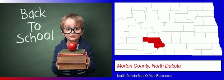 the back-to-school concept; Morton County, North Dakota highlighted in red on a map