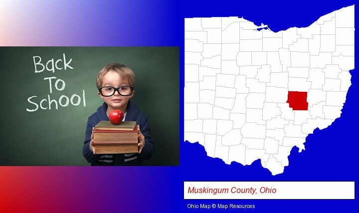 the back-to-school concept; Muskingum County, Ohio highlighted in red on a map