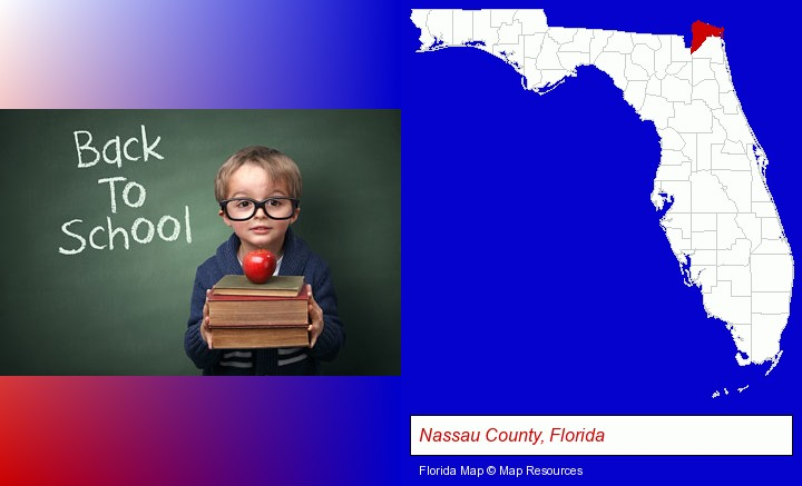 the back-to-school concept; Nassau County, Florida highlighted in red on a map