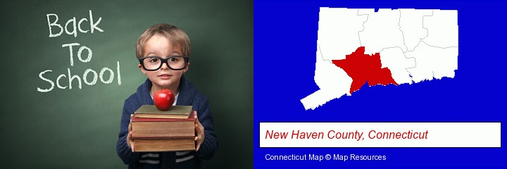 the back-to-school concept; New Haven County, Connecticut highlighted in red on a map