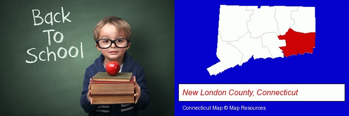 the back-to-school concept; New London County, Connecticut highlighted in red on a map