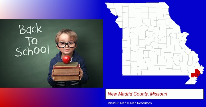 the back-to-school concept; New Madrid County, Missouri highlighted in red on a map
