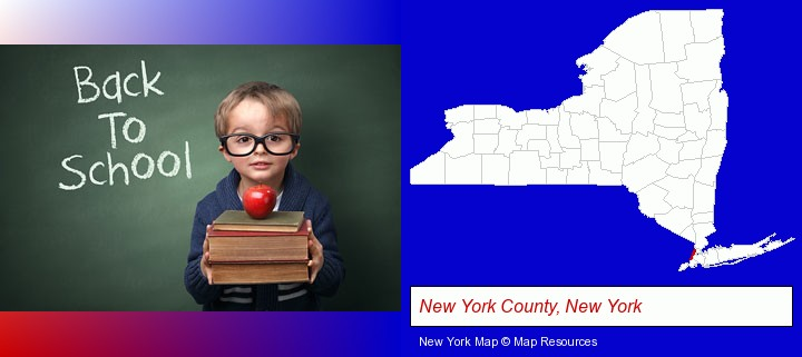 the back-to-school concept; New York County, New York highlighted in red on a map
