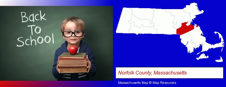 the back-to-school concept; Norfolk County, Massachusetts highlighted in red on a map