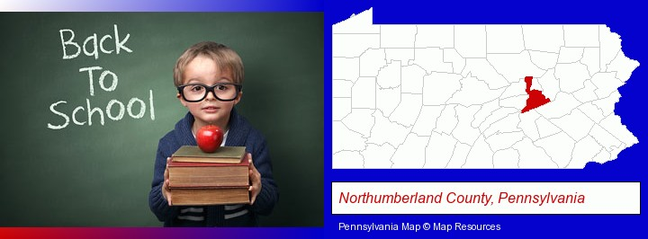 the back-to-school concept; Northumberland County, Pennsylvania highlighted in red on a map