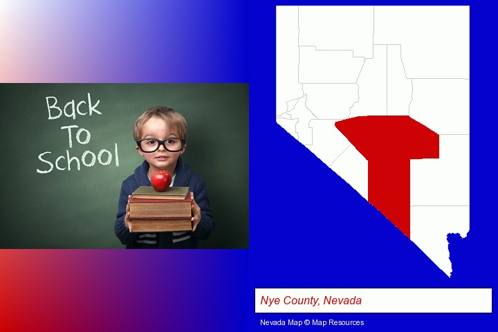 the back-to-school concept; Nye County, Nevada highlighted in red on a map