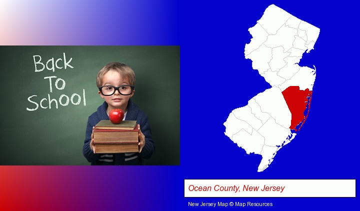 the back-to-school concept; Ocean County, New Jersey highlighted in red on a map