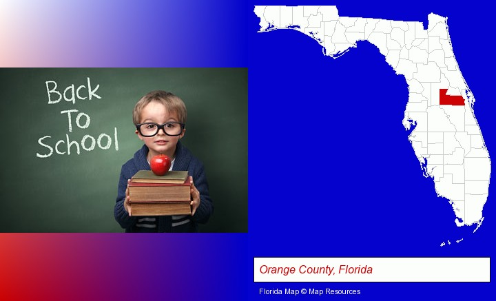 the back-to-school concept; Orange County, Florida highlighted in red on a map