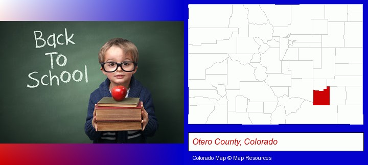the back-to-school concept; Otero County, Colorado highlighted in red on a map